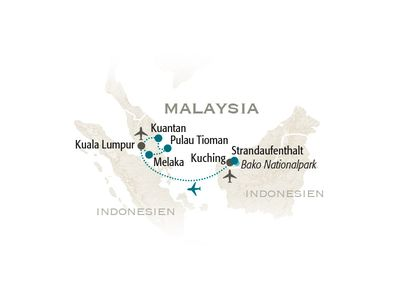 Malaysia for family individuell - Reiseroute 2020